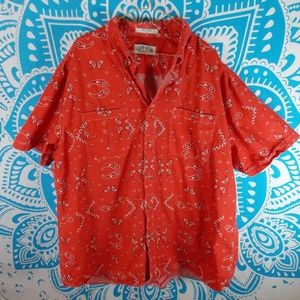 Vintage Orvis Picnic Paisley Western Wear XXL Red